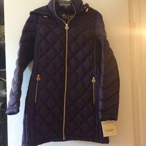Dark Purple Michael Kors Packable Down Jacket